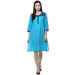 Rangmanch by Pantaloons Women's Cotton Kurta( 205000005583362_Turquoise_Medium)