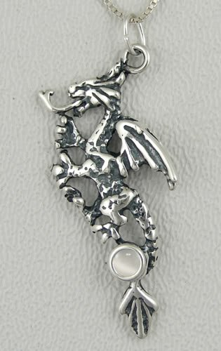 Rampant Dragon In Silver With A White Moonstone Made In America