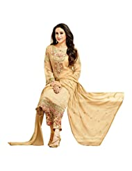 Faux Georgette Beige Designer Party Wear Salwar Kameez