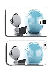buy 3D White Person Working On A Laptop With Headphones And Earth Gl Cell Phone Cover Case Iphone5