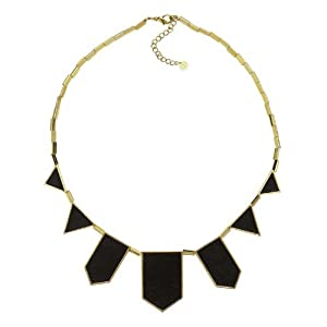 House of Harlow 1960 - Black Leather Station Necklace - 14 Karat Yellow Gold Plated