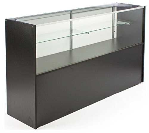 Free-Standing Glass Display Case With Black Melamine Finish, 70 x 38 x 18-Inch, Built-In Storage Base, And Sliding Rear Doors (Display Case 70 compare prices)