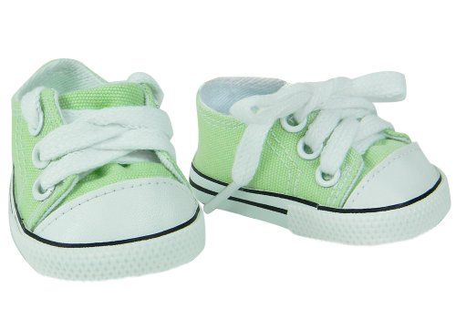 18 Inch Doll Shoes, Canvas Sneakers in Lime