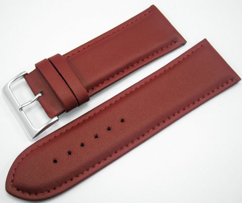 Red Padded Leather Watch Strap Band With A Stitched Edging And Nubuck Lining 28mm