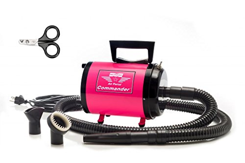Metrovac's Air Force Commander Professional Pet Grooming Dryer - Portable, Variable Speed 4.0HP Motor - Ideal for Double-Coated Dogs - 5 Unique Colors (Pink) by Metro