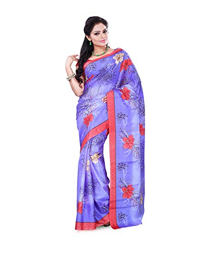 Surat Tex Violet & Red Crepe Printed Sarees With Blouse Piece