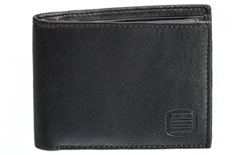 Suvelle Men's Classic 100% Genuine Smooth Sheep Leather Extra Capacity Bi-fold Wallet Purse Passcase Card Slots 2 Bill Section Removable Flip up ID Window