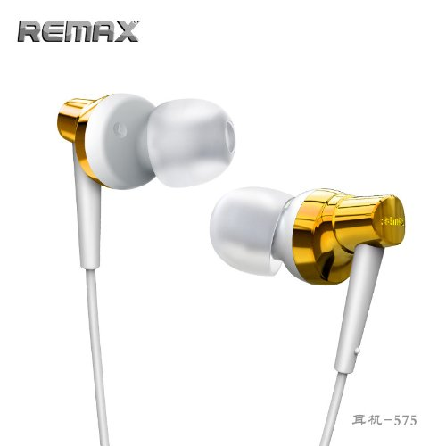 Remax Base-Driven Ultra-Bass Metal High Performance Stereo Headset With Microphone And In-Line Control (Gold Rm-575-1)