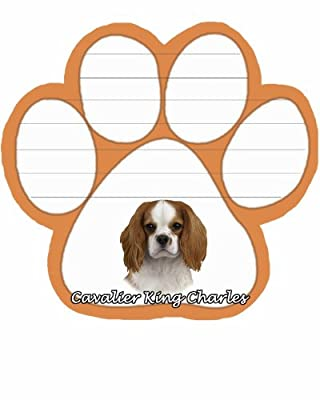 King Charles Cavalier Notepad With Unique Die Cut Paw Shaped Sticky Notes 50 Sheets Measuring 5 by 4.7 Inches Convenient Functional Everyday Item Great Gift For King Charles Cavalier Lovers and Owners