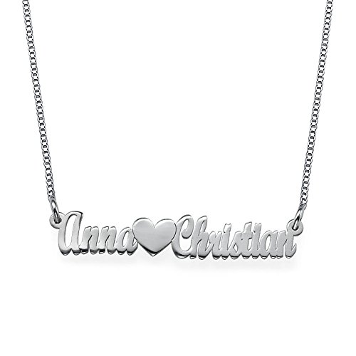HACOOL PersonalizedHeart Shape Couples Name Necklace in 925 Sterling Silver Custom Made with Any Name (Silver) (Personalized Dog Tags For Couples compare prices)