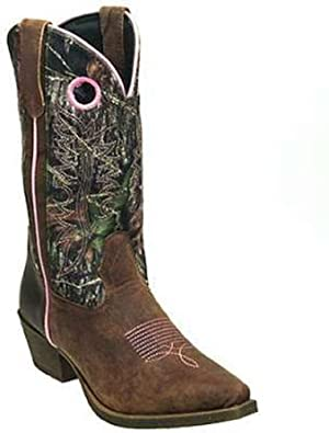 John Deere Ladies 11-inch Camo Brown Pink Wellington Western Cowboy Boots 6 M by John Deere