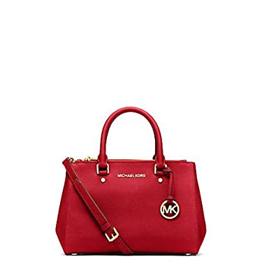 Michael Kors Sutton Small Saffiano Leather Satchel in Red