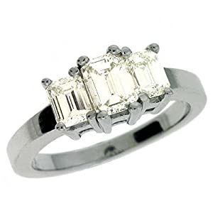 14k White 3 Stone 1.6 Ct Diamond Ring - Size 7.0 - JewelryWeb