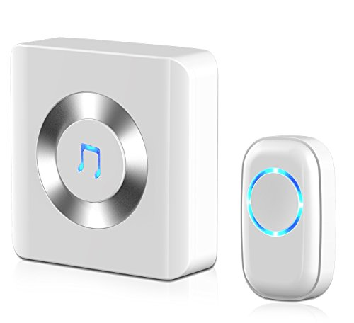Doorbell, JETech® Portable Wireless DoorBell Plug-in Push Button with LED Indicator Over 50 Chimes, No Batteries Required for the Receiver - White