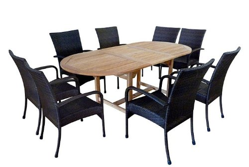 9pc Outdoor Wood Dining Extension Table and Arm Chairs Set