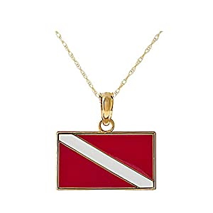 14k Yellow Gold Novelty Pendant, Small Dive Flag with Red & White Enamel, with 18 Inch Chain