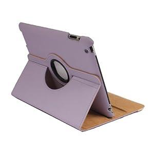 360° Rotation Bracket Board Holder Strap Closure Folio Protective Case Lavender for Ipad 2 Gen