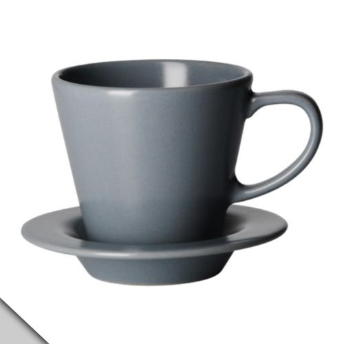 Ikea - Dinera Coffee Cup And Saucer, Gray-Blue (6 Sets)