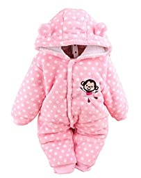 Baby Toddler Cotton Long Sleeve Jumpsuit Front Button (Pink, 6-9 Months)