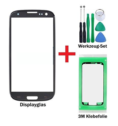 """iTech Germany PREMIUM Vetro display kit di sostituzione per Samsung Galaxy S3 in Nero - Touchscreen oleorepellente frontale per i9300 i9301 i9305 NEO LTE + """"3M"""" adesivo pretagliato e set di strumenti"""