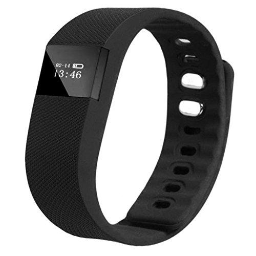Sannysis® intelligente Wristband sport sonno attività di fitness Tracker pedometro orologio da polso (Nero)