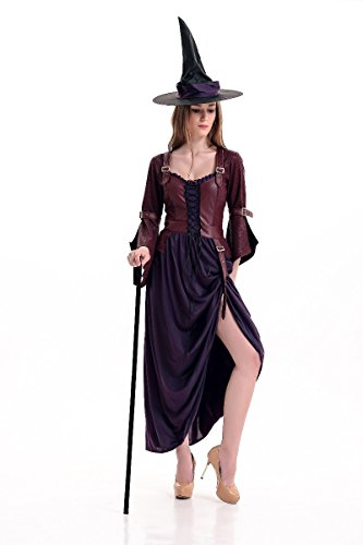 NonEcho Deluxe Halloween Costume Glamorous Black Witch Costume for Adult