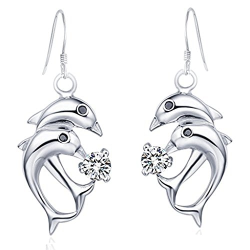 Moon Moon 18k White Gold Plating Women Drop Earrings French Fishhook Dolphins Environmental Earbob (Guys Dance Costumes)
