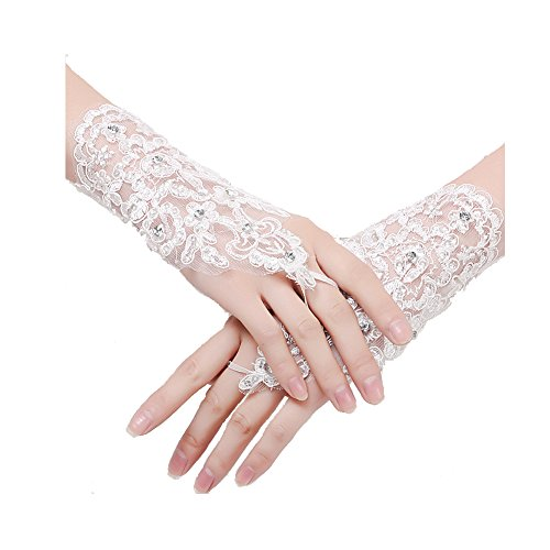 L'ivresse Lace Beaded Sequins Fingerless Short Bridal Gloves White