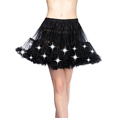 Kobwa(TM) Women LED Light Mesh Layered Dance Rave Tutu Skirts with Keyring