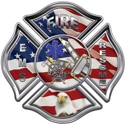 American Flag Fire, Rescue, EMS Maltese Cross Decal - 16