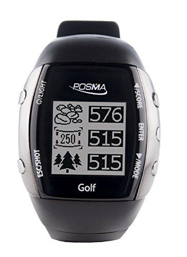 posma GM2Golf Trainer + SUIVI d'activité + Montre GPS Golf range finder avec intégrée Vert clair Capteur de rythme cardiaque et Bluetooth, terrains de Golf préchargé, sans téléchargement sans abonnement, noir. Global Courses