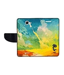 KolorEdge Printed Flip Cover For HTC Desire 516 -Multicolor (50KeMLogo10912HTC516)