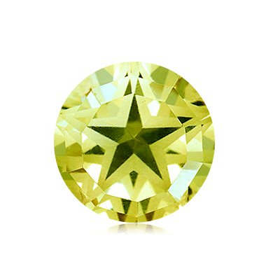 7.65 Cts of 13x13 mm AA Round Star Lemon Citrine