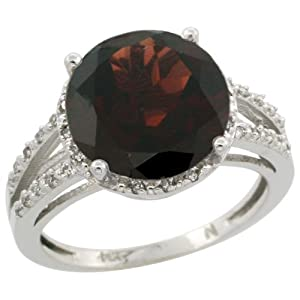 10K White Gold Diamond Natural Garnet Ring Round 11mm, 1/2 inch wide, size 5