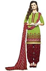 Leranath Fashion House Womens Pure Chanderi Material Green, Red Dress (LE13-279SUN-2)