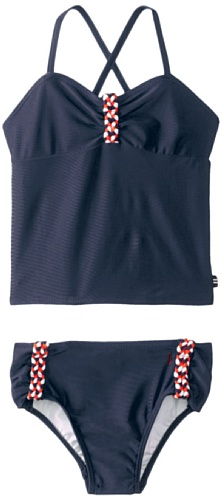 Nautica Little Girls' Tankini With Braid Detail, Naval Blue, 4 front-987452