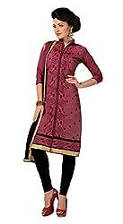 Parinaaz fashion Dark Pink Chanderi Straight Dress Material