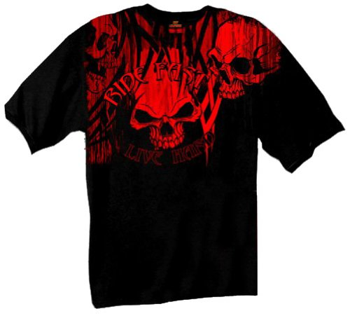 Hot Leathers Over the Top Skull Short Sleeve Tee (Black, XXX-Large)