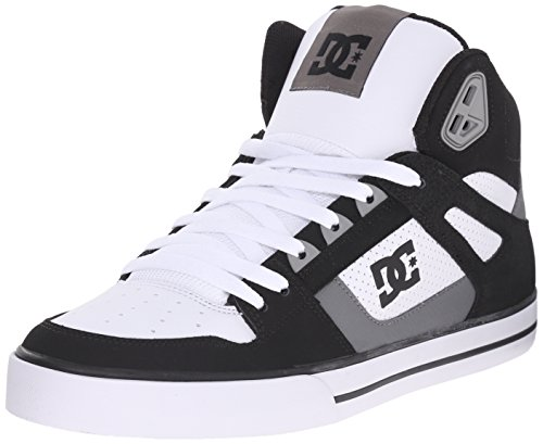 DC Men's Spartan High WC Skate Shoe, Black/Grey/White, 12 M US