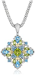 Sterling Silver and 14k Yellow Gold Blue Topaz and Peridot Pendant Necklace, 18""