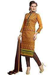 Fashion Queen Presents Orange & Brown Colored Unstitched Dress Material