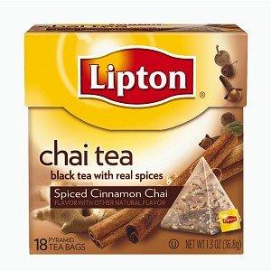 Lipton Pyramid Tea Bags, Spiced Cinnamon Chai, 18 Ea