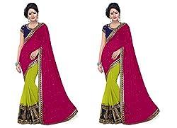 MDS Chiffon Embriodered Designer Maroon saree