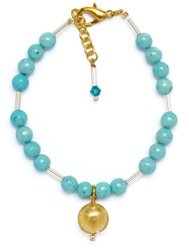 Amanti Venezia Gold Plated Turquoise Colour Bead and Genuine Murano Glass Bracelet of 22.5cm
