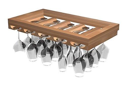 Designer Wine Glass Rack (All-Heart Redwood - Midnight Black Stain) front-564153