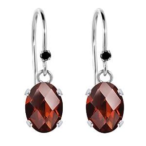 1.62 Ct Oval Checkerboard Red Garnet Black Diamond 925 Sterling Silver Earrings