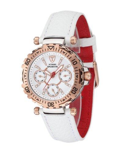 Detomaso Damen-Armbanduhr XS SPORTIVA Multifunction Rosegold/White Analog Quarz Leder DT3016-H