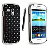 GR8 Value Samsung Galaxy S3 III Mini i8190 LEATHER MAGNETIC FLIP CASE COVER POUCH + STYLUS BLACK Diamond