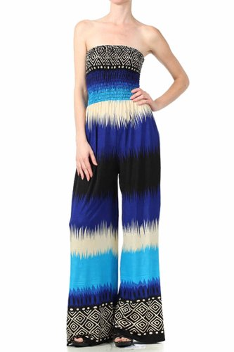 Sakkas Aztec Stripe Smocked Tube Top Wide Leg Jumpsuit