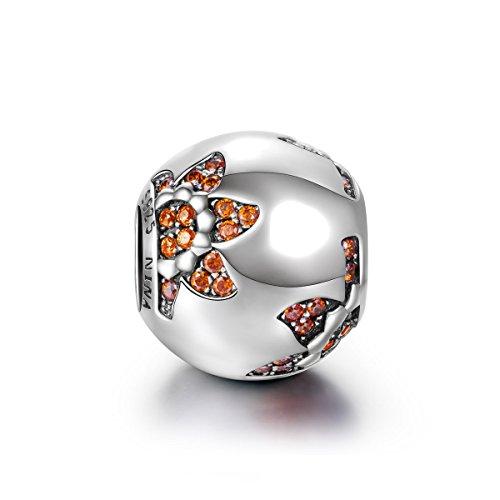 Pandora Charms Style Ninaqueen 925 Sterling Silver Sunflower Orange Gemstones Bracelet Charm